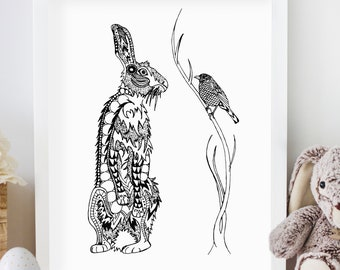 Robin and the Hare pen and ink illustration print limited edition signed and numbered