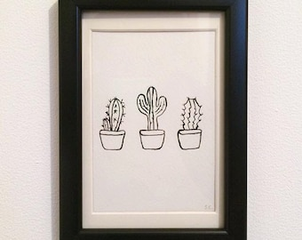 FRAMED - Three Cactuses // gifts for her // gifts for him // home decor // wall art