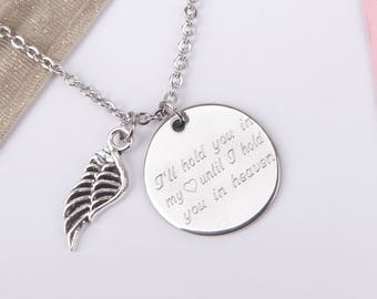 bereavement necklace,miscarriage necklace,angel wing,memorial necklace, engraved necklace,personalised necklace,custom necklace, memorial