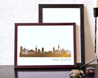 Gold DÜSSELDORF art print, Düsseldorf city skyline, perfect anniversary gift, Düsseldorf gift poster, art work Düsseldorf, home decor gold