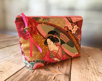 Geisha fabric zipped pouch