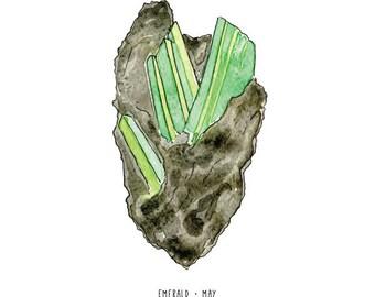 May emerald birthstone print