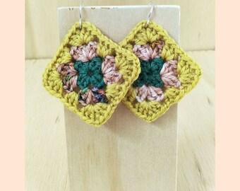 Granny Squares. Crochet earrings. Granny square earrings. Mustard, pink and green. Mustard. Pink. Green. Whimsical earrings. Wool earrings