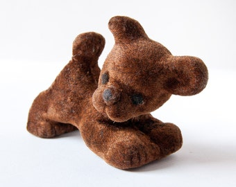 Vintage dog toy, puppy dog, brown velvet kids toy, dog toy USSR, nursery decor