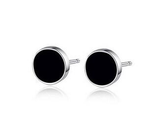 925 Sterling Silver Stud Earrings, black Agate, studs, posts, Women gift, Men Earrings, gift for man, gift for woman, friendship earrings,