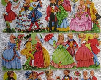 Vintage EAS Germany Die Cut Paper Scraps Dancing Couples  EAS 3096A