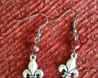 Red pearl and fleur de lis drop earrings
