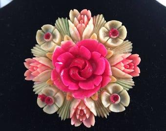 """Estate Elegant Celluloid /Plastic Large Floral   Brooch / Pin 2.15""""D"""