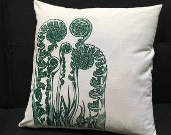 Pillow Cover Fiddlehead Fern Nature Screen Print Organic Cotton Hemp Recycled Poly 17 X 17