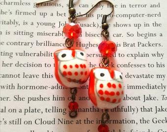 Red owl earrings