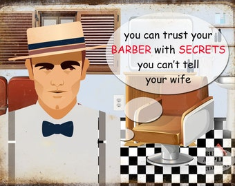 Do You Trust Your Barber ? Metal Sign Hair Salon Barbers Home Decor Mancave Hone Decor Kitchen 3 Sizes To Choose From