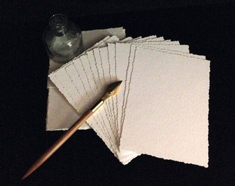 Packet of Approximately 5 x 7 Watercolor Paper or Multi Media-Paper/ Postcard Sized with Deckled Edge