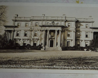 RPPC Front of Vanderbilt Mansion, Hyde Park New York, National Historic Site