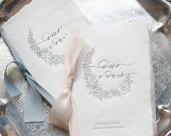 Wedding Vow Books Letterpress on Handmade Paper-Our Vows