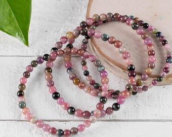 Multicolor TOURMALINE Bracelet - Tourmaline Bracelet, Tourmaline Bead, Tourmaline Jewelry, Tourmaline Crystal, Healing Stone Bracelet E0707