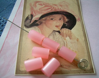 6 Rose Pink Moonglow Lucite Beads Cylinders Tubes