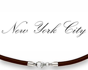 """4mm Brown Leather Cord Necklace Silver Clasp 14"""" inches - 36"""" inches Silver Clasp, You choose length. LCR0400BRNS"""