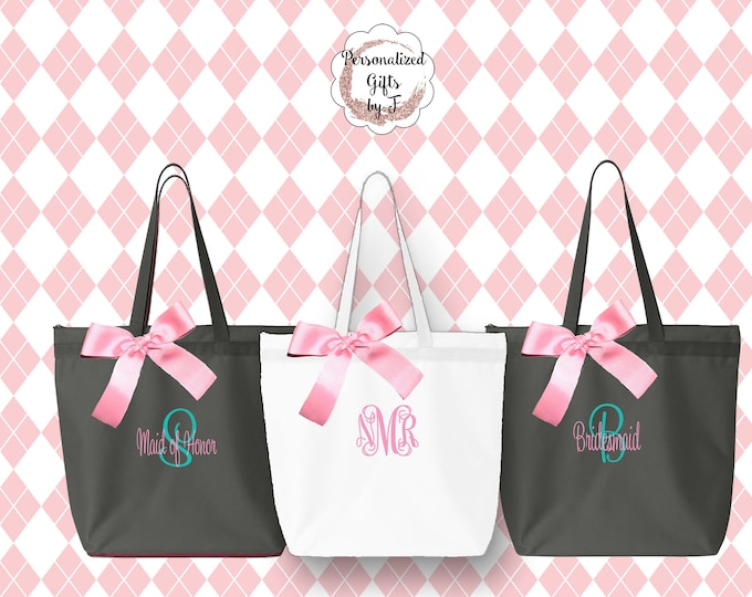Personalized Zippered Tote Bag Bridesmaid Gift Set of 6- Bridesmaid Gift- Personalized Bridemaid Tote - Wedding Party Gift - Name Tote-