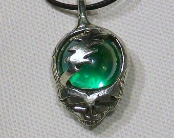 Grateful Dead Steal Your Face Pendant with Glass Marble