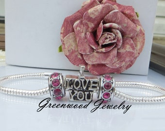 3pcs I Love You. You Choose Color, Birthstone, European Charm Bead For Large Hole Charm Bracelet And Necklace Chain, Crystal Spacer. 8x11mm