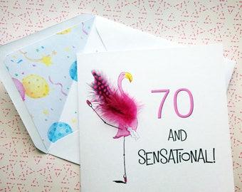 Flamingo Card - 70th Card - Fun Card - Birthday Card -Tropical Bird Card - Funny Birthday Card - Cute Birthday Card - Animal Birthday Card