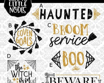 CLN0716 HALLOWEEN BUNDLE! Witch Broom Service Coven Goals Haunted Beware SVG dxf ai eps png Instant Download Commercial Cut File Cricut