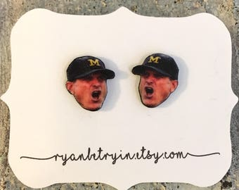 Jim Harbaugh Earrings - Michigan Wolverine Stud Earrings - Sports Fan Gift - University of Michigan Jewelry - Wolverine Fans - Football Gift