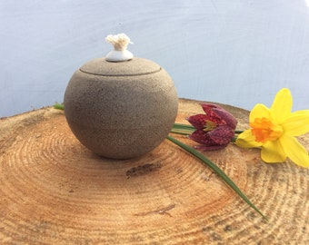 Ceramic Oil Lamp - Decorative Candle Light - Grey natural speckled - Ready to Ship