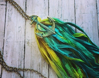 Sari silk tassel necklace, anchor necklace, tassel pendant