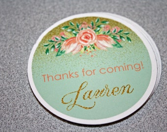 Floral Birthday Favor Tags / Floral Favor Tags / Floral Gift Tags / Sweet 16 Favor Tags / Sweet 16 Party / Bridal Shower Favor Tags / Set 12