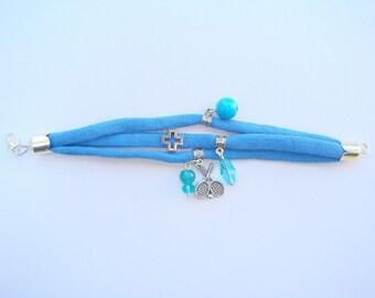 Bracelet multi strand yarn hoooked spaghetti