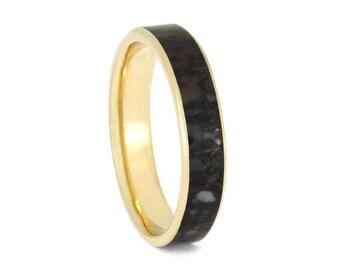 Fossilized Dinosaur Bone Wedding Band, Men or Women's 10k Yellow Gold Ring Inlaid With Dino Bone, Statement Ring