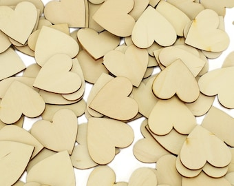Wooden Hearts 4cm Wedding Guest Book Drop Box Supplies Timber Love
