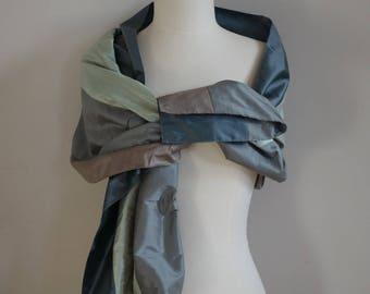 Great scarf grey green Shantung silk