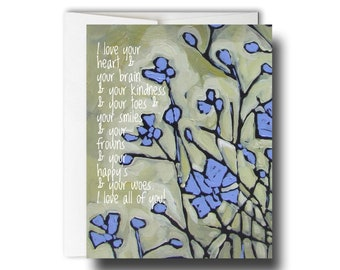 I love your heart and your brain // GC011 // Greeting card // Sweet greeting card // Best friend card