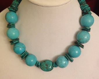 "Totally Turquoise: 18"" necklace w Turquoise and Magnesite A beautiful color"
