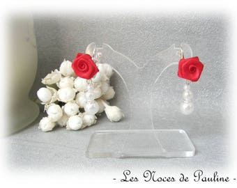 Red and White Roses wedding earrings