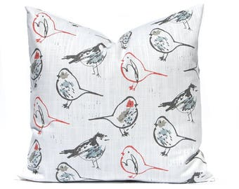 One Throw Pillow Cover - Bird Pillow - Red and Grey - Sofa Pillows - Red Pillows - Living Room Decor - Decorative Pillow - Designer Pillow