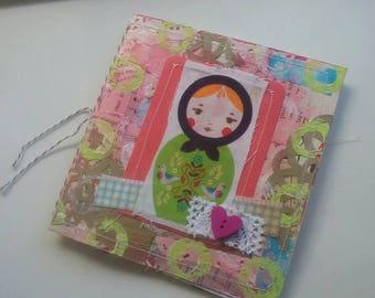 Russian Doll journal. matryoshka. Mixed paper journal. Babushka notebook.