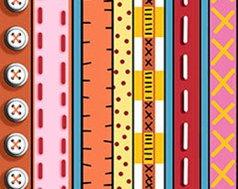 Patchwork Farms by Desiree Designs - Quilting Treasures - Fun animals & from the farm! Per Yard - Border Print Orange Red Pink