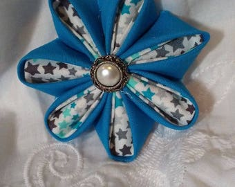 Round Flower Teal hair barrette.