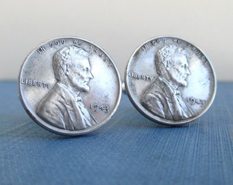 1943 Steel Penny Cuff Links - Lincoln Fronts, Repurposed Vintage Coins
