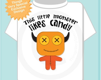 Personalized Halloween This Little Monster Likes Candy Tee Shirt or Onesie