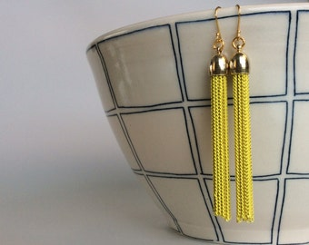 Gold plated sterling silver yellow metal tassel earrings