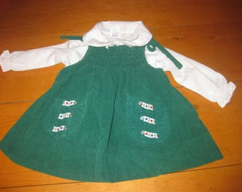 vtg green pinafore corduroy apron dress 18 mos -24 mos so cute great for the vintage photo free ship