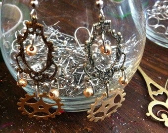Steampunk Earrings- Hanging from the Chandelier E19