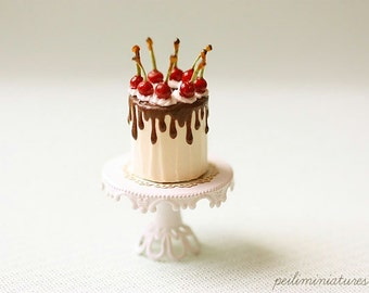 Miniature Dollhouse Food - Chocolate Ganache Cherries Cake