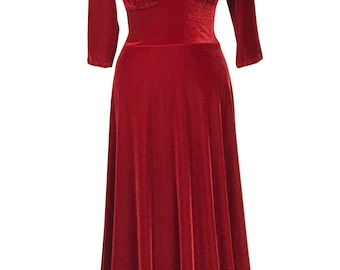 Baylis & Knight Red Velvet Plunge neck Maxi Dress