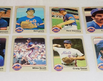 1983 Fleer,  Baseball Cards, New York METS, 11 Vintage Baseball Cards, 1983 Fleer, Charlie Puleo, Ed Lynch