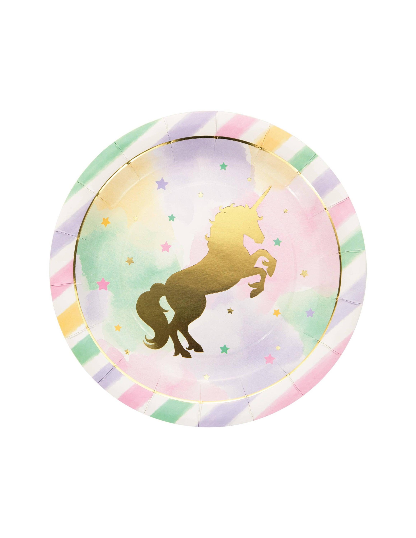 🔎zoom  sc 1 st  Etsy & Sale 8 GOLD UNICORN Large Paper Plates 9 Unicorns
